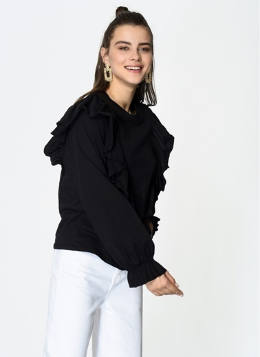 Loves You Mevsimlik Penye Sweatshirt Siyah
